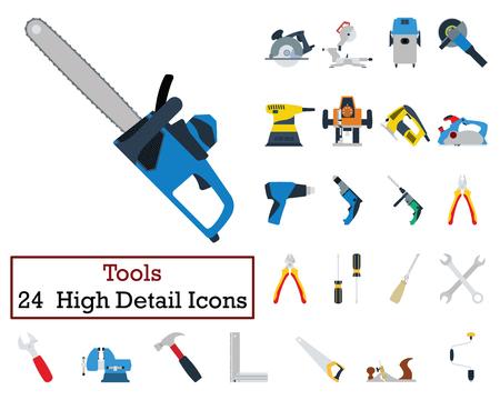 Set of 24  Tools Icons. Flat color design. Vector illustration. Иллюстрация