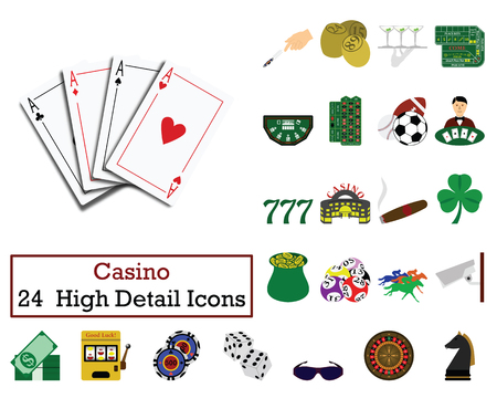 Set of 24  Casino Icons. Flat color design. Vector illustration.