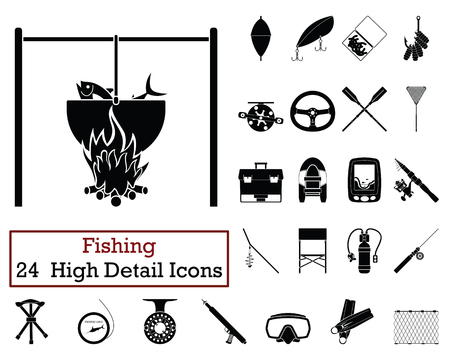 Set of 24  Fishing Icons. Monochrome color design. Vector illustration.