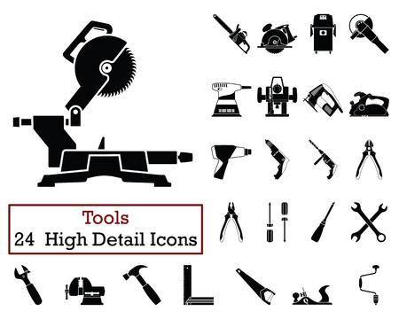 Conjunto de 24 iconos de herramientas. Diseño de color monocromático. Ilustración de vector.