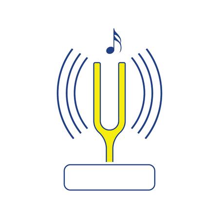 Tuning fork icon. Thin line design. Vector illustration.