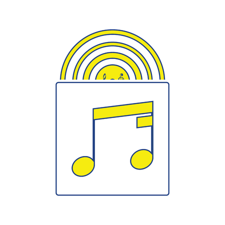 Vinyl record in envelope icon. Thin line design. Vector illustration. Illustration