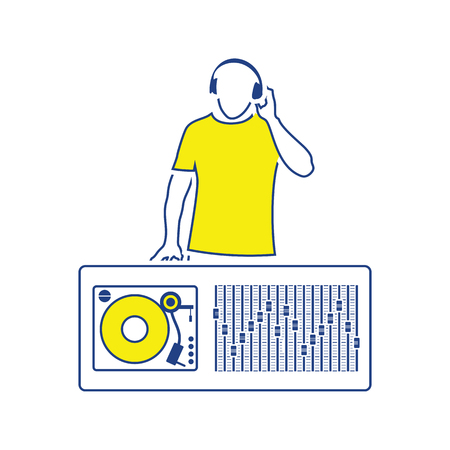 DJ icon. Thin line design. Vector illustration.