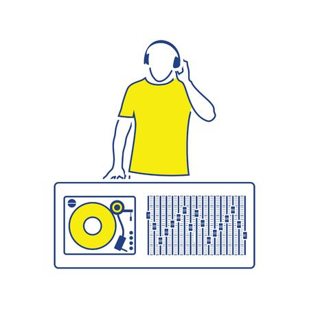 DJ icon. Thin line design. Vector illustration.