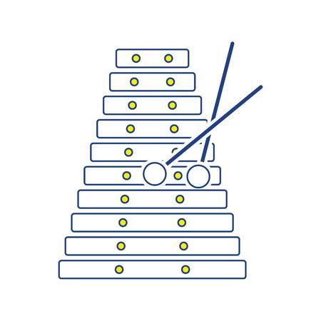 Xylophone icon. Thin line design. Vector illustration.