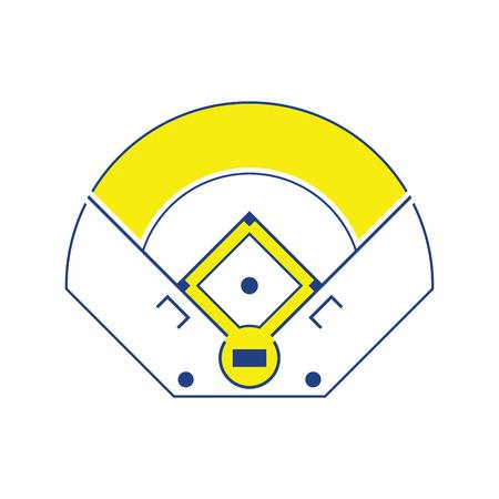 Icône de vue aérienne de terrain de baseball. Conception de lignes fines. Illustration vectorielle.