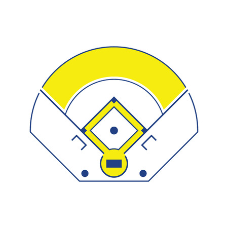Baseball field aerial view icon. Thin line design. Vector illustration. Illustration
