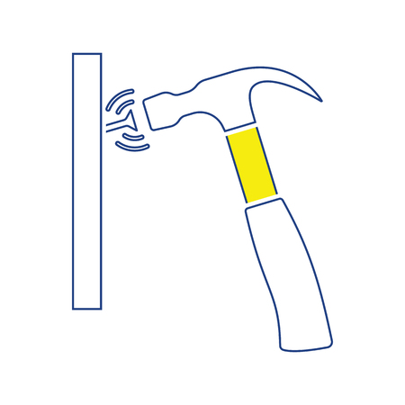 Icon of hammer beat to nail. Thin line design. Vector illustration.