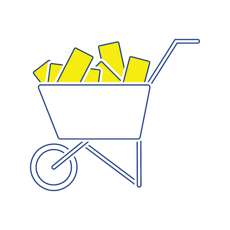 Icon of construction cart . Thin line design. Vector illustration. Illustration