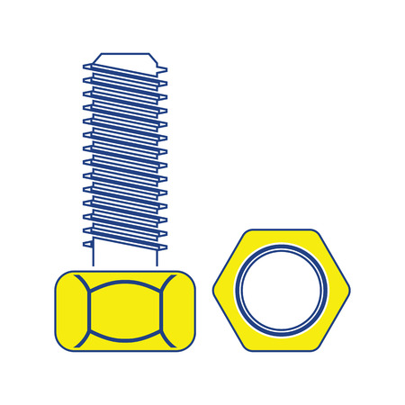 Icon of bolt and nut. Thin line design. Vector illustration. Stock Illustratie
