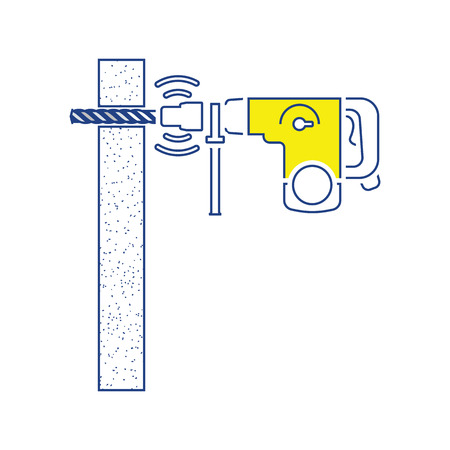 Icon of perforator drilling wall. Thin line design. Vector illustration.