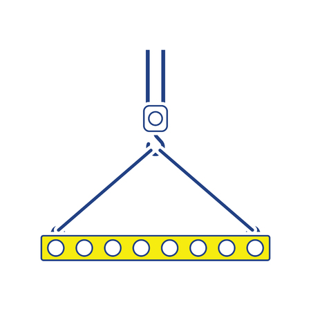 Icon of slab hanged on crane hook by rope slings . Thin line design. Vector illustration.