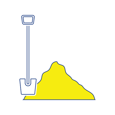 Icon of Construction shovel and sand. Thin line design. Vector illustration.