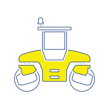 Icon of road roller. Thin line design. Vector illustration. Stock Illustratie