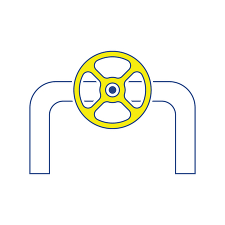 Icon of Pipe with valve. Thin line design. Vector illustration.
