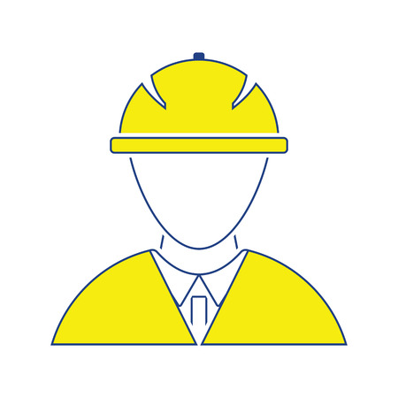 Icon of construction worker head in helmet. Thin line design. Vector illustration.