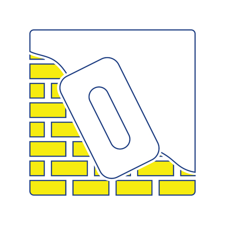 Icon of plastered brick wall . Thin line design. Vector illustration. Stock Illustratie