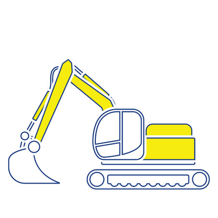 Icon of construction bulldozer. Thin line design. Vector illustration. Vettoriali