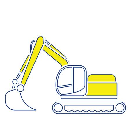 Icon of construction bulldozer. Thin line design. Vector illustration. Illustration