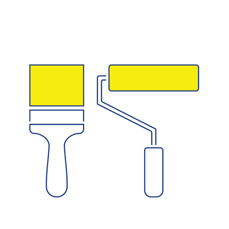 Icon of construction paint brushes. Thin line design. Vector illustration. Stock Illustratie