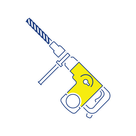 Icon of electric perforator. Thin line design. Vector illustration.