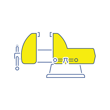 Icon of vise. Thin line design. Vector illustration.