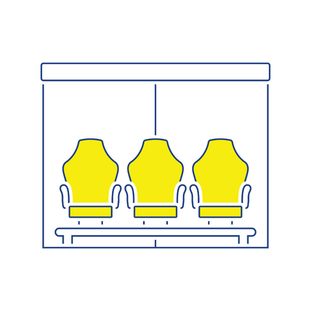 Icon of football player's bench. Thin line design. Vector illustration. 向量圖像