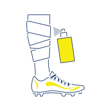 Icon of football bandaged leg with aerosol anesthetic. Thin line design. Vector illustration. 向量圖像