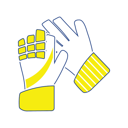 Icon of football   goalkeeper gloves. Thin line design. Vector illustration.