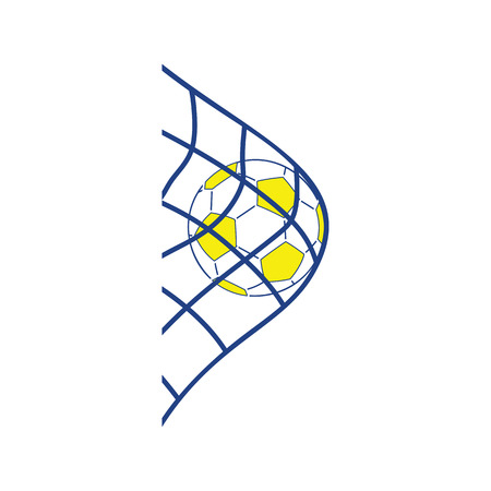 Icon of football ball in gate net. Thin line design. Vector illustration.