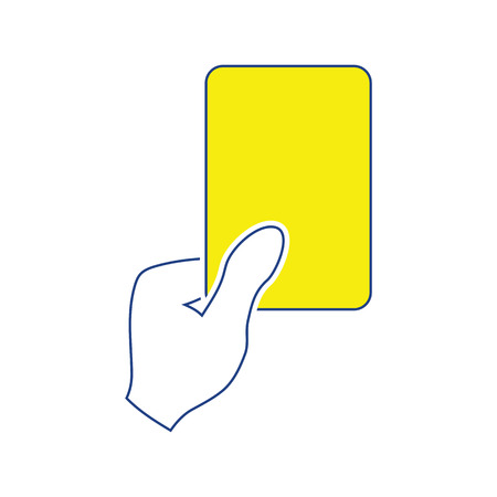Icon of football referee hand with red card. Thin line design. Vector illustration.