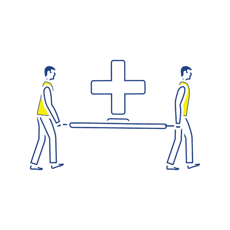 Icon of football medical staff carrying stretcher. Thin line design. Vector illustration.