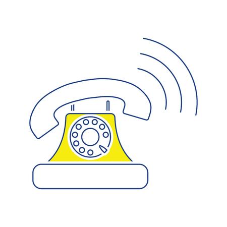 Old telephone icon. Thin line design. Vector illustration. Foto de archivo - 124805875