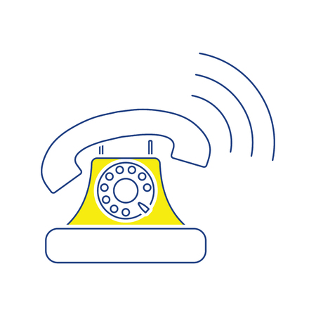 Old telephone icon. Thin line design. Vector illustration.