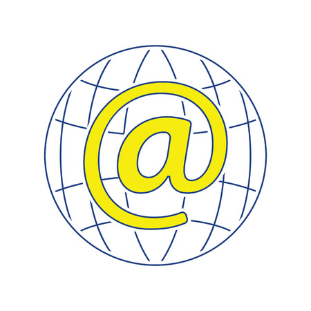 Global e-mail icon. Thin line design. Vector illustration.