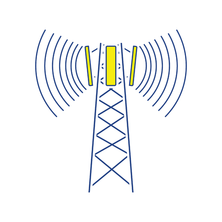 Cellular broadcasting antenna icon. Thin line design. Vector illustration.