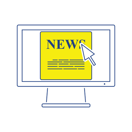 Monitor with news icon. Thin line design. Vector illustration.