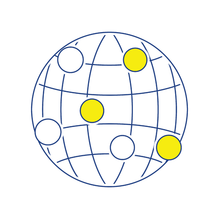 Globe connection point icon. Thin line design. Vector illustration.