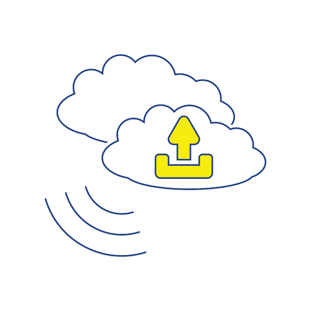 Cloud upload icon. Thin line design. Vector illustration.