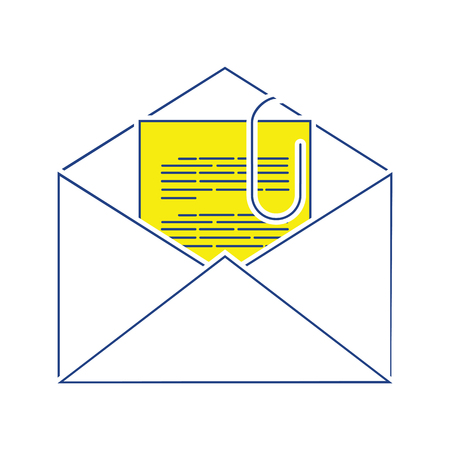 Mail with attachment icon. Thin line design. Vector illustration.