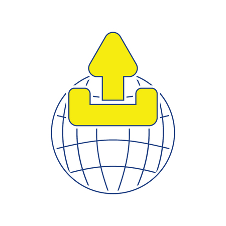 Globe with upload symbol icon. Thin line design. Vector illustration.