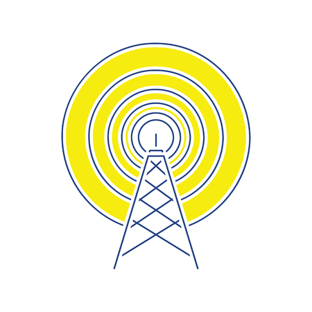 Radio antenna icon. Thin line design. Vector illustration.