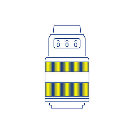 Icon of photo camera zoom lens. Thin line design. Vector illustration. Illustration