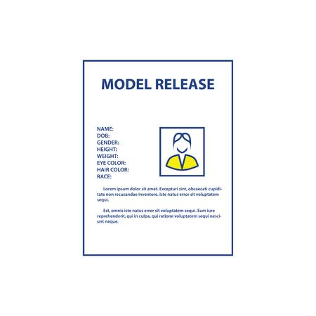 Icon of model release document. Thin line design. Vector illustration. Иллюстрация