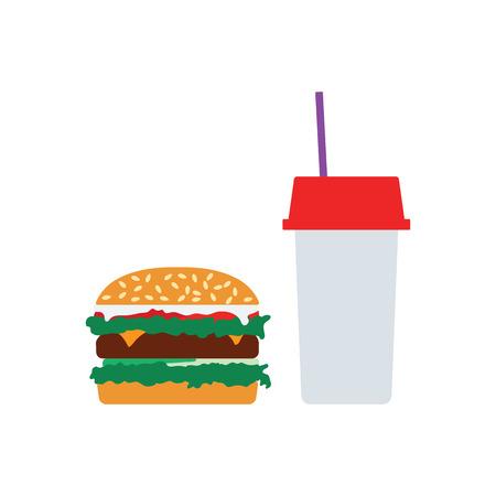 Fast food icon. Flat color design. Vector illustration.
