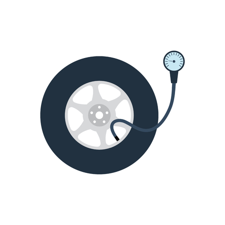 Tire pressure gage icon. Flat color design. Vector illustration. 矢量图像