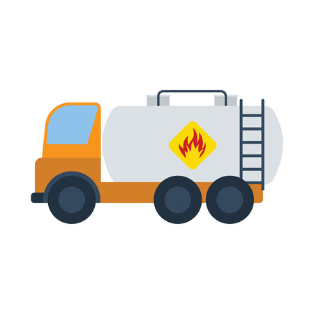 Oil truck icon. Flat color design. Vector illustration. Illustration