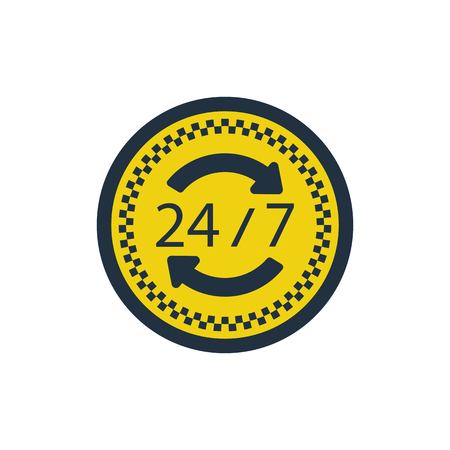 24 hour taxi service icon. Flat color design. Vector illustration.