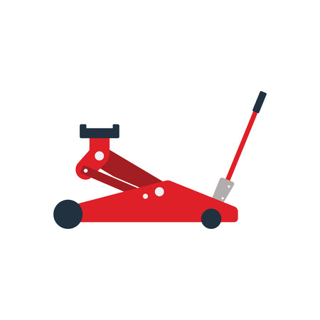Hydraulic jack icon. Flat color design. Vector illustration.