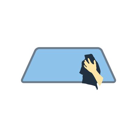 Wipe car window icon. Flat color design. Vector illustration.